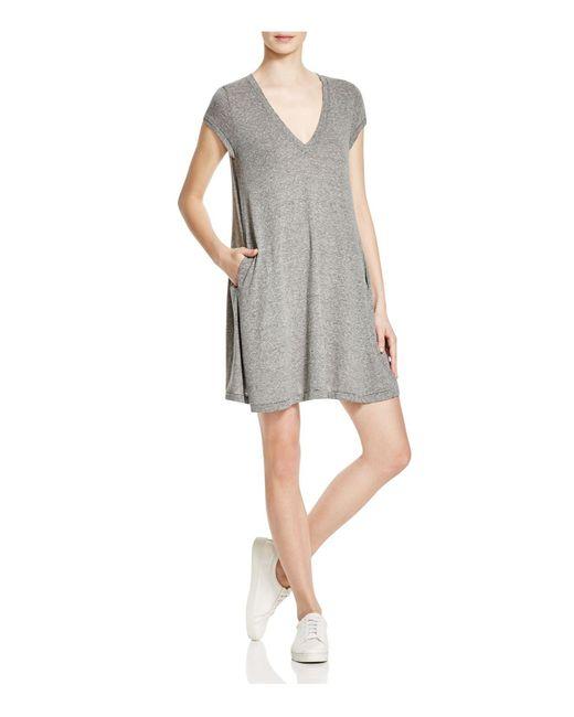 Current/Elliott | Gray The V-neck Jersey Trapeze Dress | Lyst