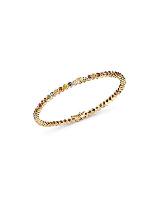 Shebee - Metallic 14k Yellow Gold Multicolor Sapphire Infinity Bangle Bracelet - Lyst