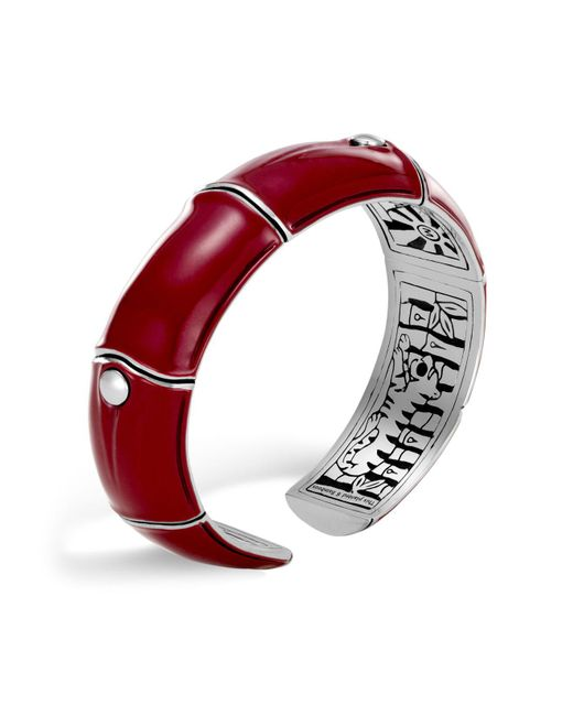 John Hardy | Sterling Silver And Deep Red Enamel Bamboo Kick Cuff | Lyst