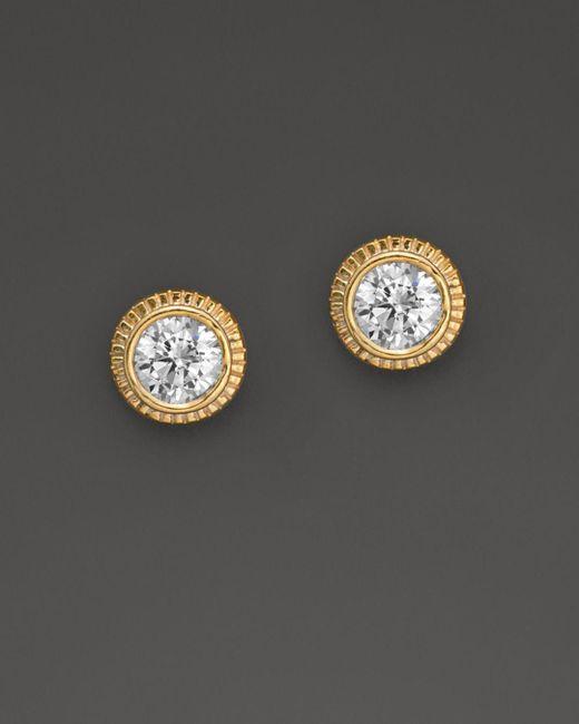 Bloomingdale's - Metallic Diamond Milgrain Stud Earrings In 14k Yellow Gold, 0.25 Ct. T.w. - Lyst