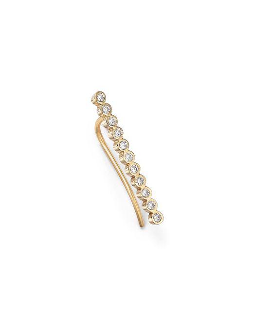 Zoe Chicco | Metallic 14k Yellow Gold And Tiny Bezel Diamond Ear Shield | Lyst
