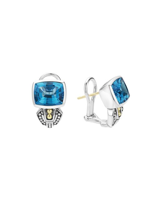 Lagos | 18k Gold And Sterling Silver Caviar Color Stud Huggie Drop Earrings With Swiss Blue Topaz | Lyst