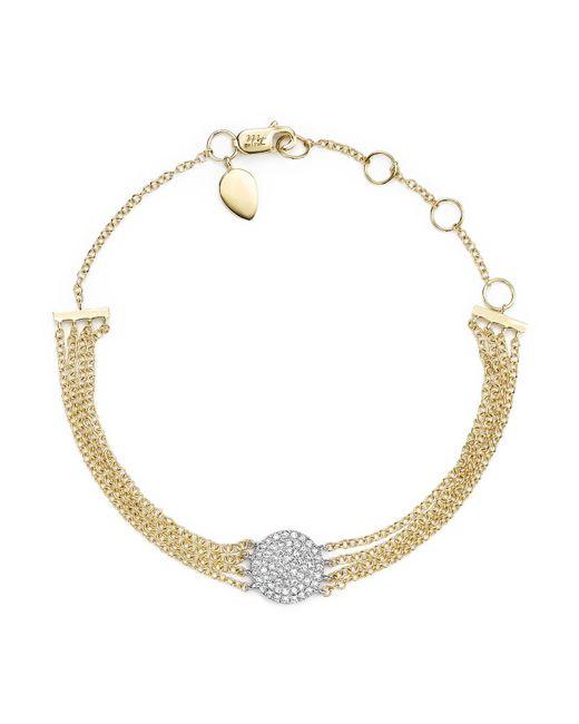 Meira T   Metallic 14k White Gold And Yellow Gold Pavé Diamond Disc Bracelet   Lyst