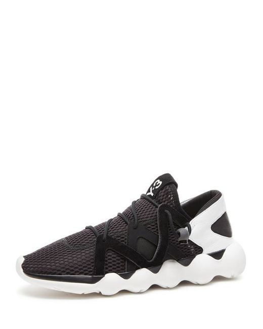 Y-3 | Blue Kyujo Mesh & Leather Sneakers for Men | Lyst