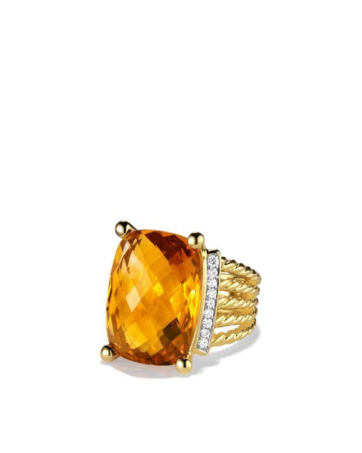David Yurman | Yellow Wheaton Ring With Citrine And Diamonds In Gold | Lyst