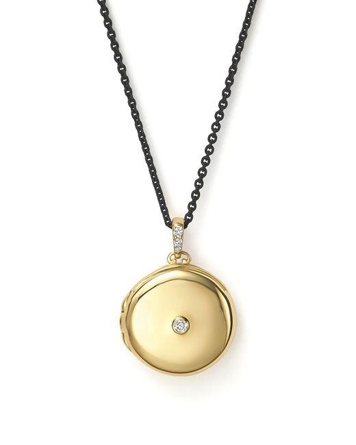 Monica Rich Kosann   Metallic Pave Diamond Gold Oval Locket Necklace   Lyst