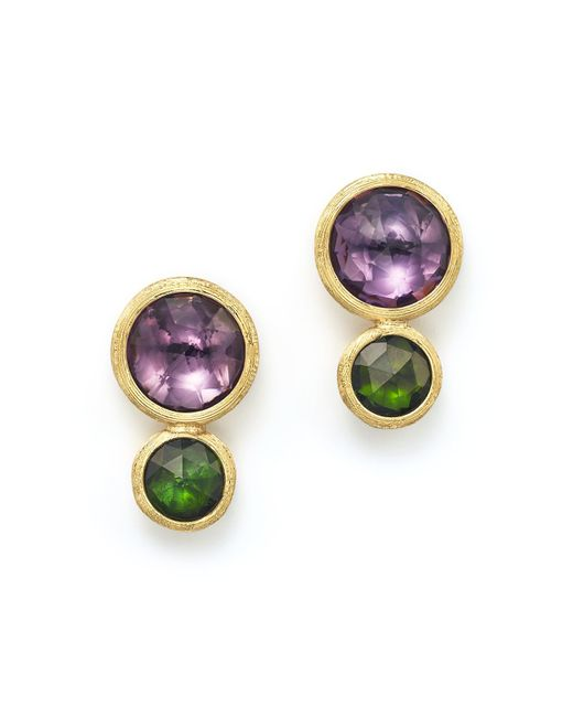 Marco Bicego | Metallic 18k Yellow Gold Jaipur Two Stone Earrings With Amethyst And Green Tourmaline | Lyst