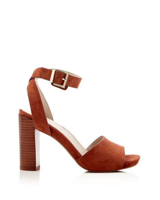 Kenneth Cole Toren Suede Ankle Strap High Heel Sandals In