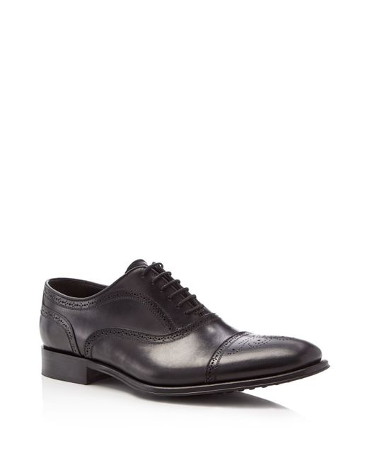 To Boot | Black David Leather Medallion Cap Toe Oxfords for Men | Lyst