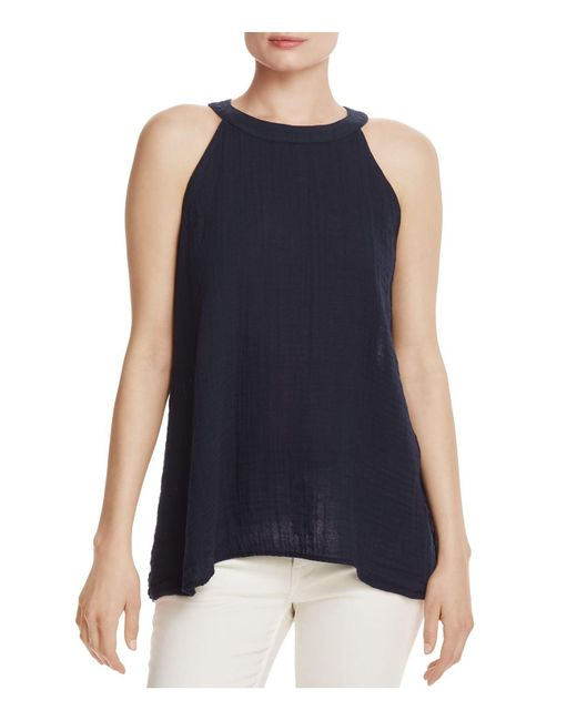 Three Dots | Blue Textured Halter Top | Lyst