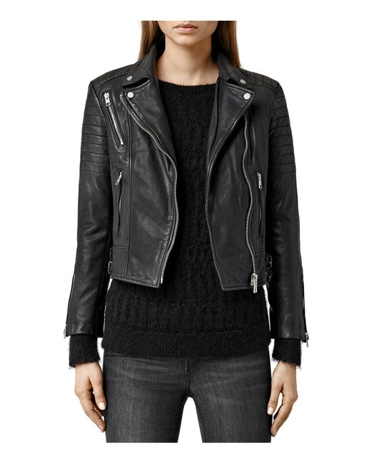 AllSaints | Black Balfern Palm Leather Biker Jacket | Lyst