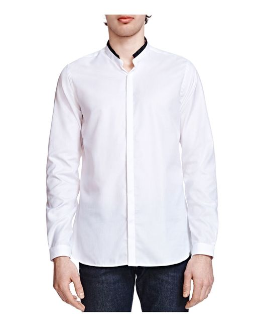 The Kooples Pique Slim Fit Button Down Shirt In White For