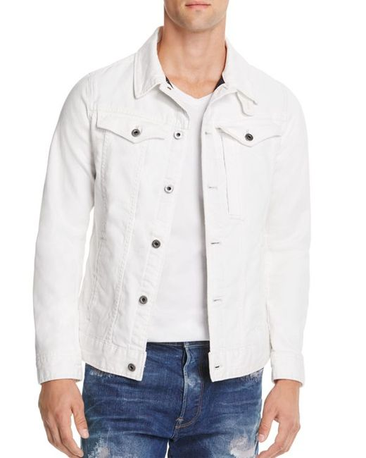 g star raw raw 3301 slim fit white denim jacket in white. Black Bedroom Furniture Sets. Home Design Ideas