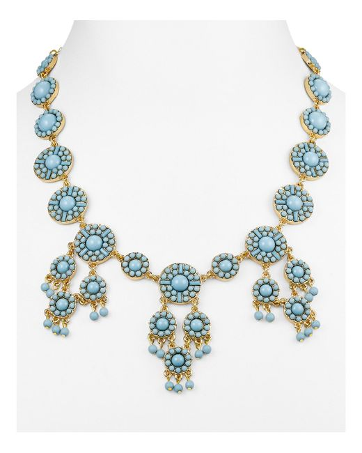 BaubleBar | Blue Sundrop Bib Necklace, 17"