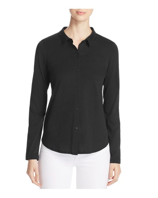 eileen fisher cotton knit button down shirt in black lyst