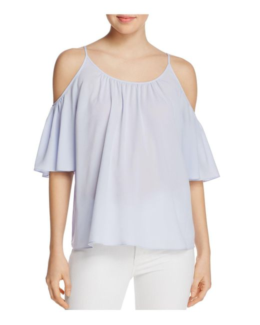 French Connection | Blue Polly Plains Cold-shoulder Top | Lyst