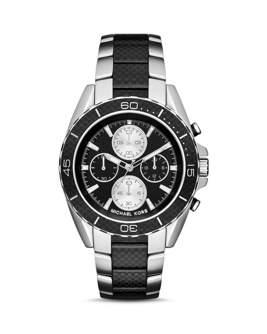 Michael Kors | Landaulet Chronograph Black Stainless Steel Watch Mk8371 for Men | Lyst