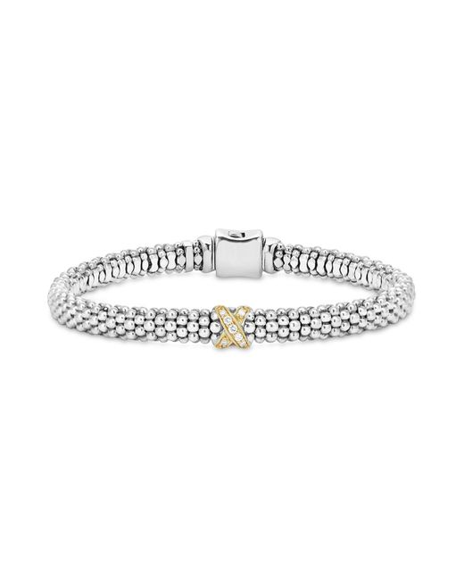 Lagos | Metallic 18k Gold And Sterling Silver X Collection Rope Bracelet With Diamonds | Lyst