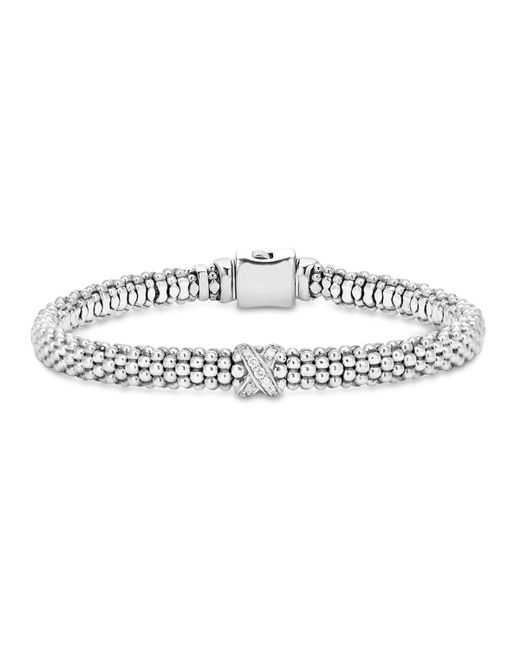 """Lagos   Metallic Sterling Silver """"x Collection"""" Rope Bracelet With Diamonds   Lyst"""