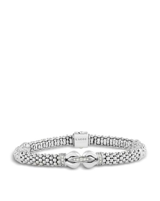Lagos | Metallic Derby Sterling Silver Bracelet With Diamonds | Lyst