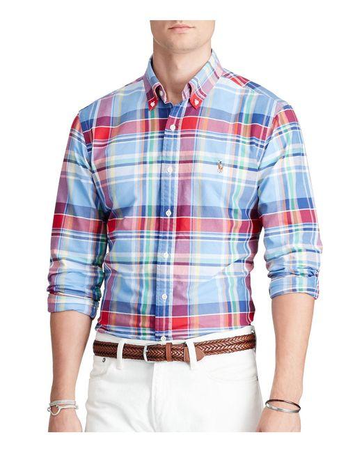 Polo Ralph Lauren   Blue Plaid Cotton Oxford Classic Fit Button-down Shirt for Men   Lyst