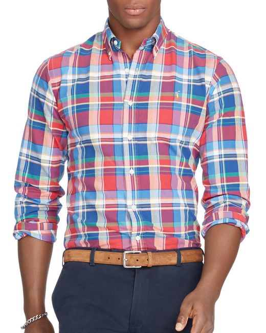 Polo Ralph Lauren | Blue Big & Tall Plaid Oxford Shirt for Men | Lyst