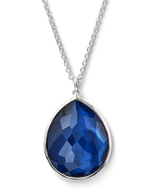 "Ippolita | Blue Sterling Silver Wonderland Large Teardrop Pendant Necklace In Midnight, 16"" | Lyst"