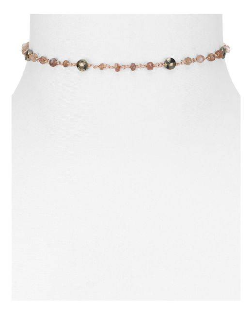 Ela Rae | White Diana Satellite Moonstone & Pyrite Choker Necklace, 12"