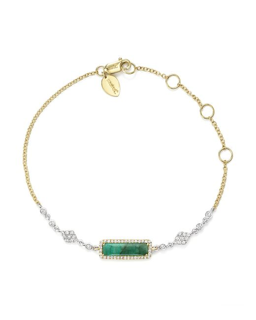 Meira T | Multicolor 14k Yellow And White Gold Emerald Bracelet With Diamonds | Lyst