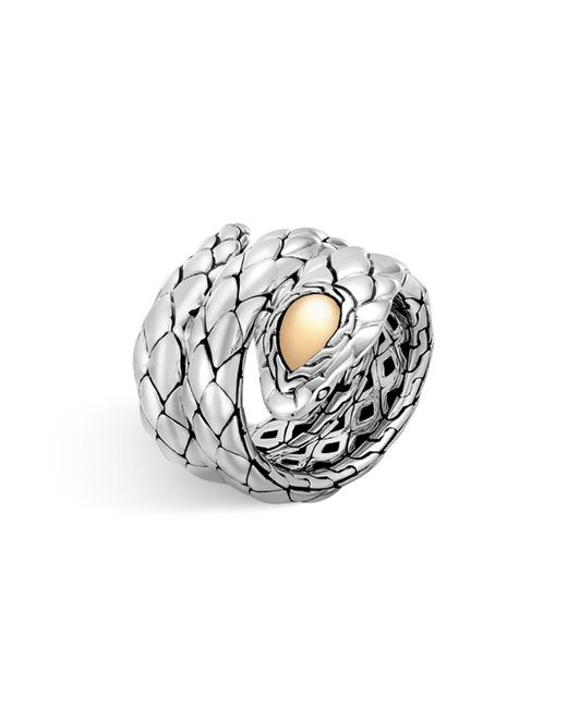 John Hardy | Metallic 18k Yellow Gold And Sterling Silver Legends Cobra Double Coil Ring | Lyst