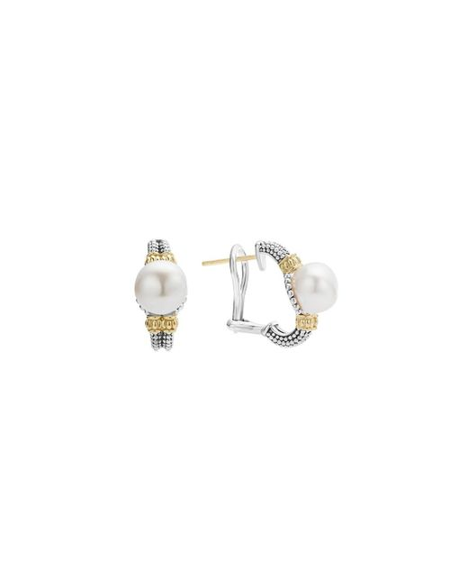 Lagos | White 18k Gold And Sterling Silver Luna Earrings With Cultured Freshwater Pearls | Lyst