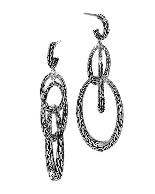 John Hardy - Metallic Sterling Silver Classic Chain Drop Earrings - Lyst