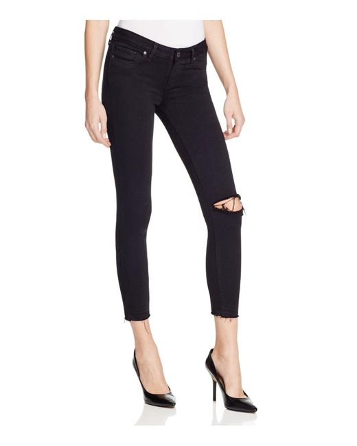 PAIGE - Verdugo Crop Jeans In Jet Black Destroyed - Lyst