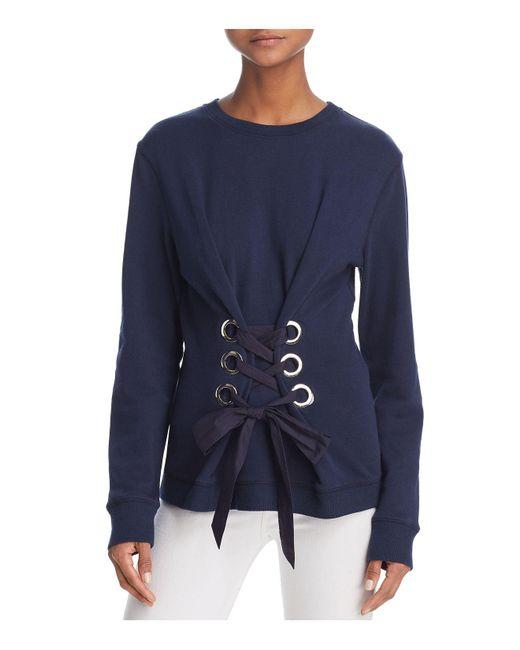 10 Crosby Derek Lam | Blue Lace-up Sweatshirt | Lyst