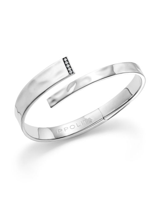 Ippolita | Metallic Sterling Silver Sensotm Textured Bypass Cuff With Diamonds | Lyst