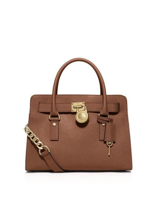 MICHAEL Michael Kors | Brown Hamilton East West Leather Satchel Bag | Lyst