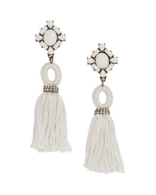 BaubleBar   White Sohvi Tassel Drop Earrings   Lyst