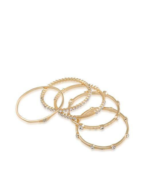 ABS By Allen Schwartz | Metallic Gold-tone 5-pc. Set Crystal Studded Bangle Bracelets | Lyst