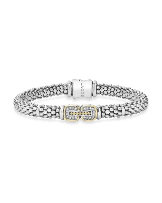 Lagos | Metallic Sterling Silver Beaded Bracelet With Diamonds And 18k Gold | Lyst