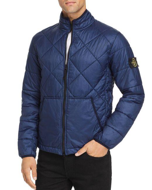 Stone Island - Blue Garment-dyed Quilted Ripstop Puffer Jacket for Men - Lyst