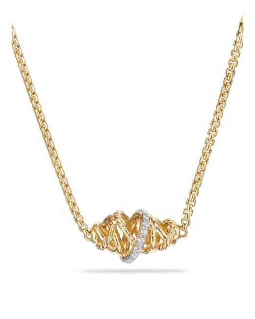 David Yurman | Metallic Crossover Single Station Necklace With Diamonds In 18k Gold | Lyst