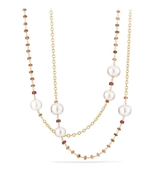 David Yurman | Multicolor Solari Link Necklace In 18k Gold With Cultured Yellow South Sea Pearl And Andalusite | Lyst