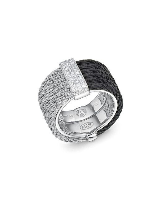 Alor | Metallic Two Tone Cable Ring With Diamonds | Lyst