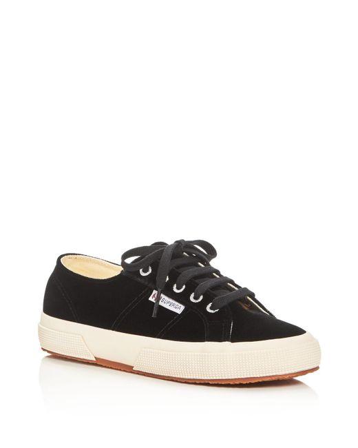 Superga | Black Velvet Low Top Sneakers | Lyst