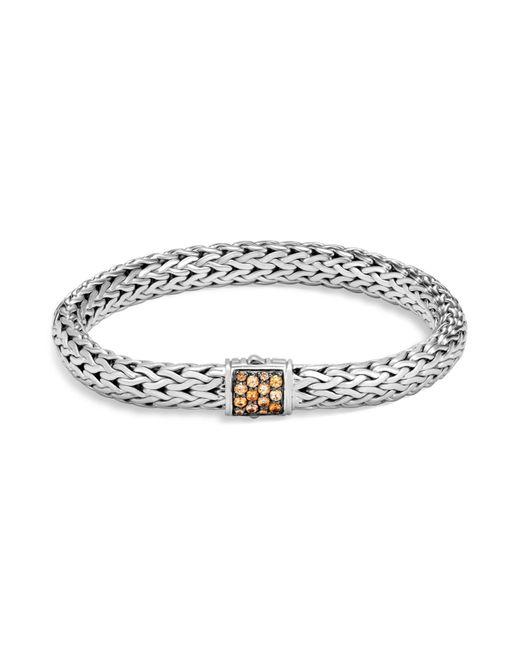 John Hardy | Metallic Sterling Silver Classic Chain Medium Bracelet With Mixed Mandarin Garnet | Lyst