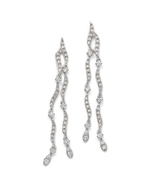 KC Designs - 14k White Gold Diamond Double Strand Wave Earrings - Lyst