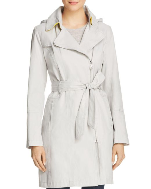 Vince Camuto - Multicolor Asymmetric Front Belted Trench Coat - Lyst