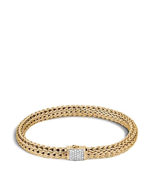 John Hardy - Metallic Classic Chain 18k Gold And Diamond Pave Small Bracelet - Lyst