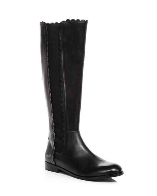 Kate Spade | Black Women's Rayna Scalloped Leather Tall Boots | Lyst