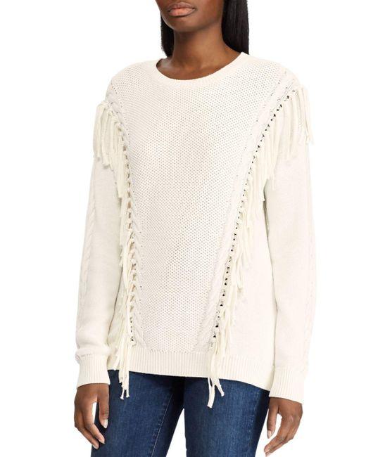 Ralph Lauren - Natural Lauren Fringe Trim Mixed Knit Sweater - Lyst